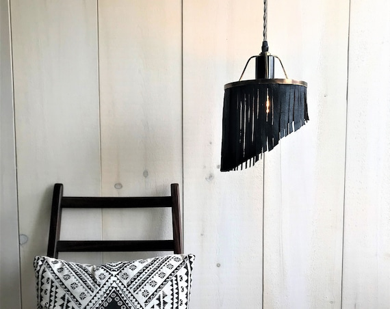 Clodelle - Upcycled lighting - Pendant light - Brass and black metal and black fringed leather