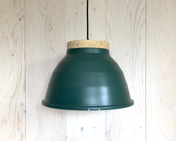 NEW 2020 - Plywood G - Upcycled lighting - Pendant light - Forest green painted aluminum and plywood