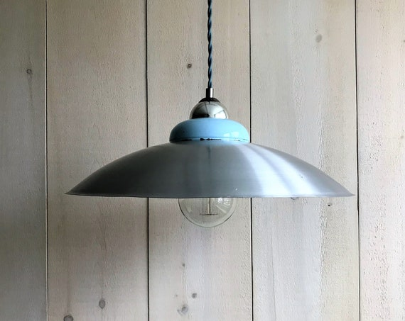 Lucie - Upcycled lighting - Pendant light - Silver and blue sky metal