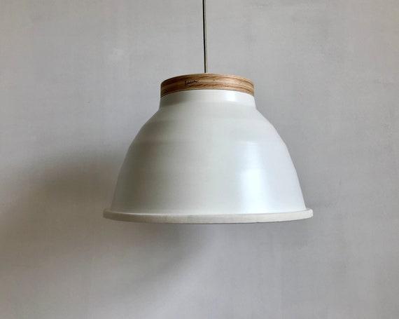 Plywood White - Upcycled lighting - Pendant light - off white aluminum metal, plywood and white leather