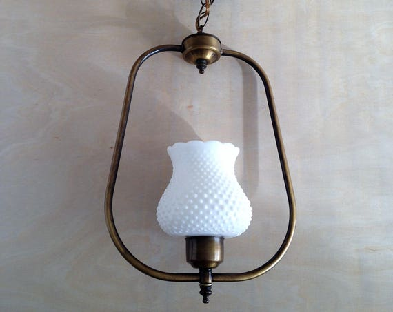 Laurette - Upcycled lighting - Pendant light - milk glass globe and brass