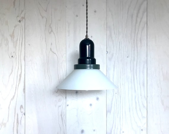 Adelor - Upcycled lighting - Pendant light - White glass shade and olive green and black metal