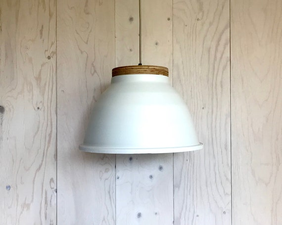 NEW 2020 - Plywood B - Upcycled lighting - Pendant light - cream aluminum metal, plywood and white leather