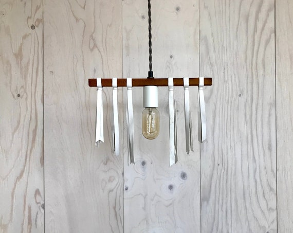 Luna - Upcycled lighting - Pendant light - wood and white leather