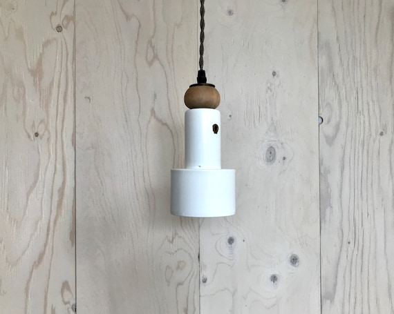 Blanche - Upcycled lighting - Pendant light - White metal and white washed wood