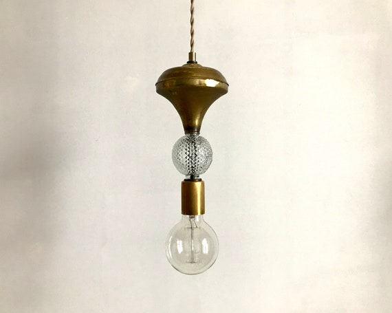 Donalda 5 - Upcycled lighting - Pendant light - Cleared vintage glass and antique brass metal
