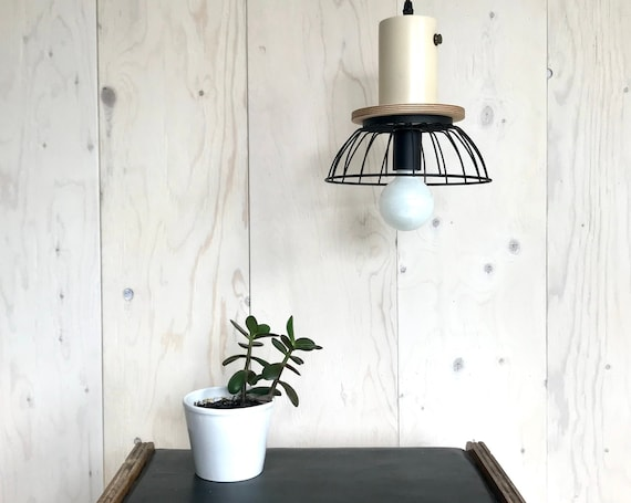 NEW 2020 - Florence - Upcycled lighting - Pendant light - Black metal cage, plywood and beige metal