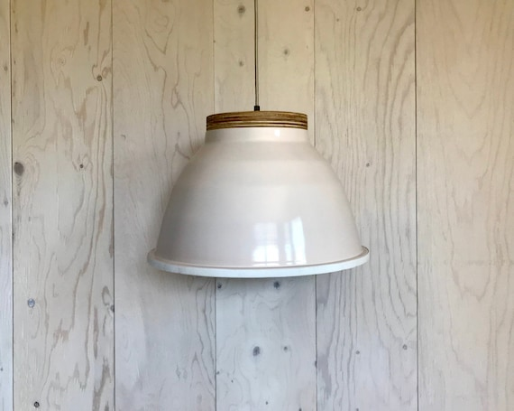 NEW 2020 - Plywood R - Upcycled lighting - Pendant light - Light pink aluminum metal, plywood and white leather