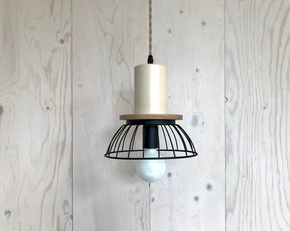 NEW 2020 - Florence beige wire- Upcycled lighting - Pendant light - Black metal cage, plywood and beige metal