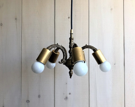 Romeo - Upcycled lighting - Antique brass chandelier