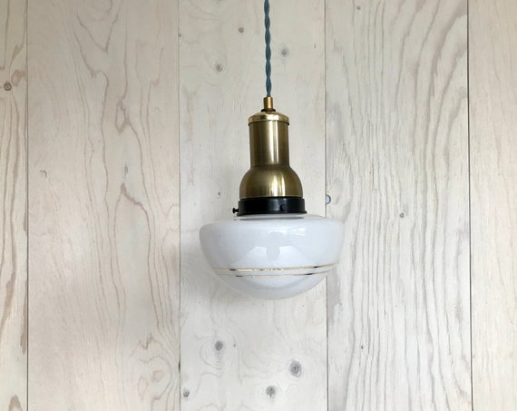 Leon - Upcycled lighting - Pendant light - Vintage glass globe and brass and black metal