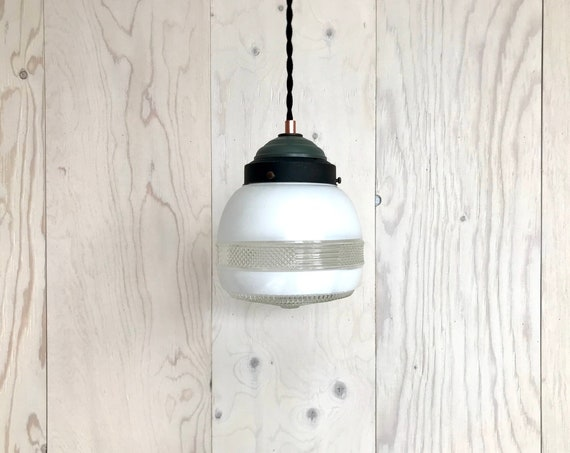 Auguste - Upcycled lighting - Pendant light - Glass globe and black, olive green and copper metal