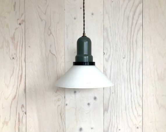 Adelaide - Upcycled lighting - Pendant light - White glass shade and olive green and black metal