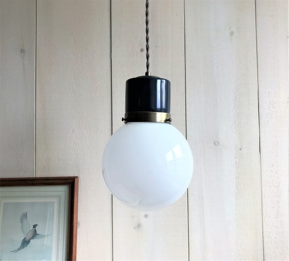 Nicolas - Upcycled lighting - Pendant light - white glass globe and brass and navy metal