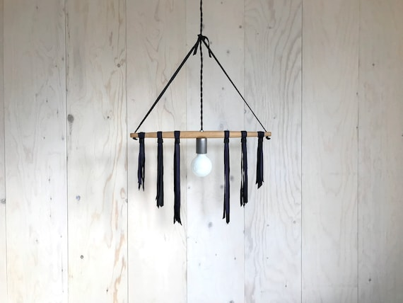 Violette - Upcycled lighting - Pendant light - wood and black and purple leather