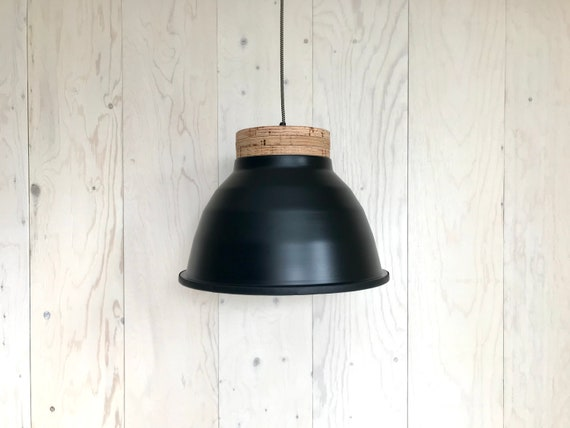 NEW 2020 - Plywood N - Upcycled lighting - Pendant light - Black aluminum metal, plywood and black leather