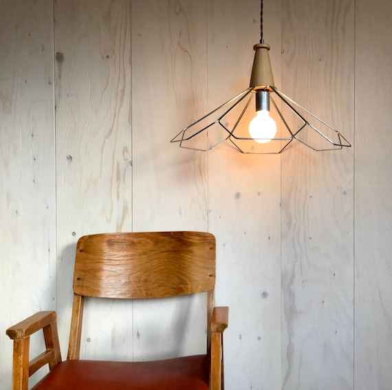 Liliane - Upcycled lighting - Pendant light- Silver metal and blond wood