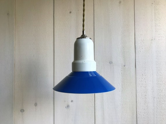 Alexis - Upcycled lighting - Pendant light - Royal blue, white and silver metal