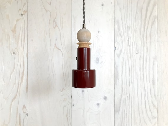 Pauline - Upcycled lighting - Pendant light - Burgundy metal, blond and white wash wood