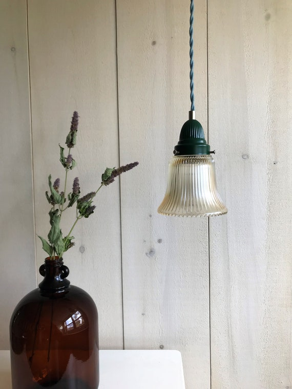 Noela - Upcycled lighting - Pendant light - Glass and forest green metal