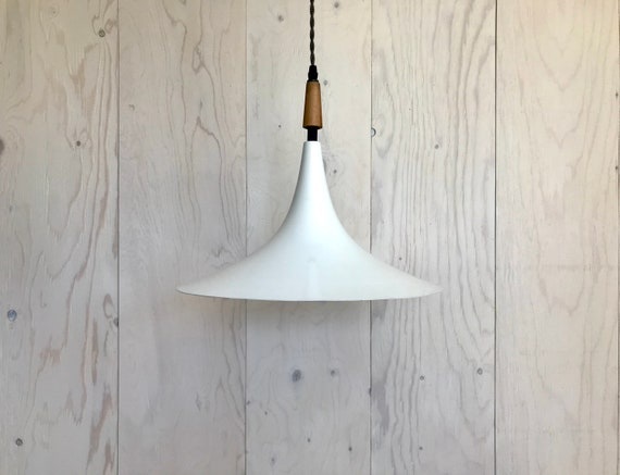 NEW 2020 - Jeanine - Upcycled lighting - Pendant light - White and black metal, blond wood