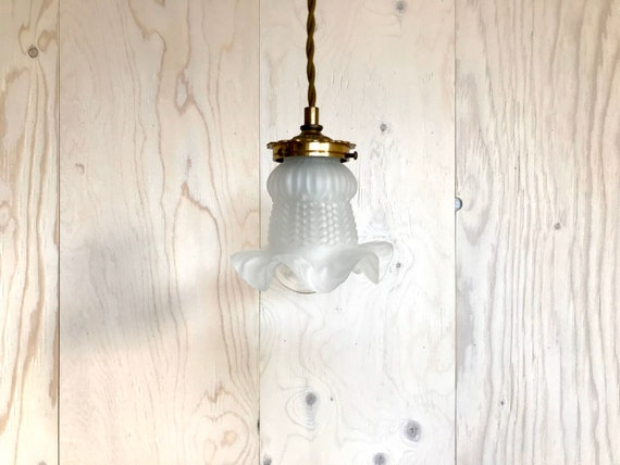 Flora - Upcycled lighting - Pendant light - Tulip shaped frosted glass vintage shade and antique brass metal