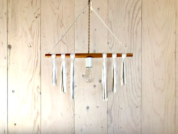 NEW 2020 - Migration 01 white - Upcycled lighting - Pendant light - wood and white leather
