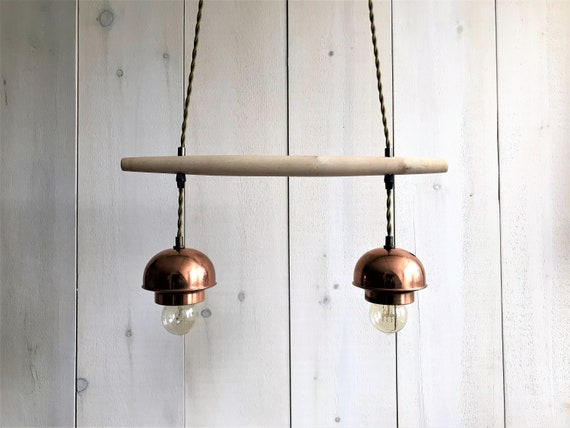 Eleonore - Upcycled lighting - double pendant light - Light wood and copper metal, olive green wire