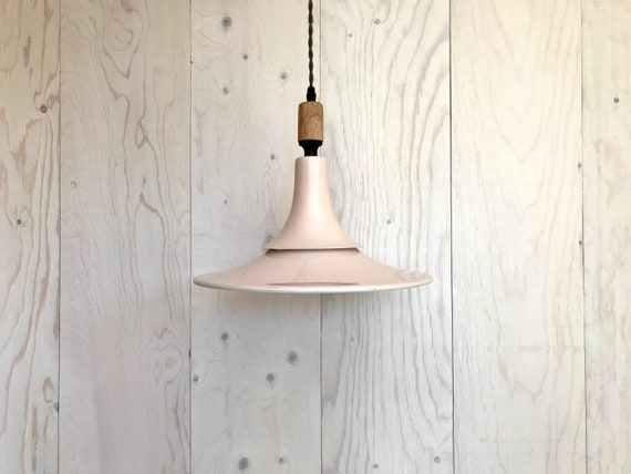 NEW 2020 - Josephine - Upcycled lighting - Pendant light - Light pink and black metal, blond wood