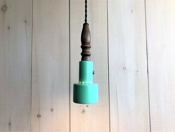 Noah - Upcycled lighting - Pendant light - Turquoise metal and turned wood