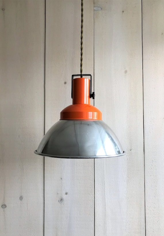 Clemence - Upcycled lighting - Pendant light - Silver and orange metal shade