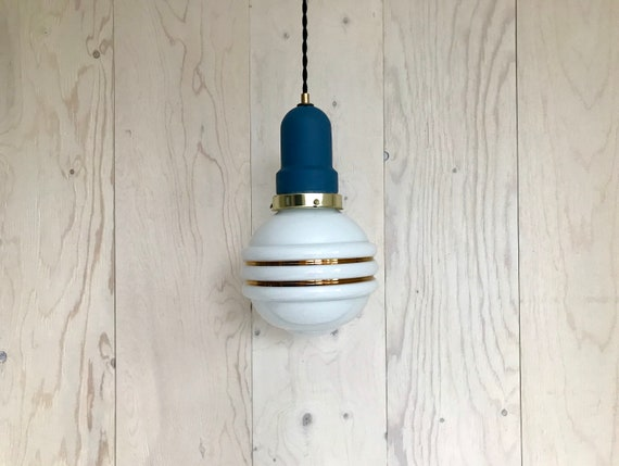 Charline - Upcycled lighting - Pendant light - White and gold glass globe with brass and blue metal