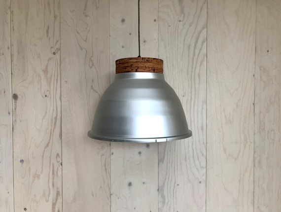 NEW 2020 - Plywood A - Upcycled lighting - Pendant light - Silver aluminum and plywood