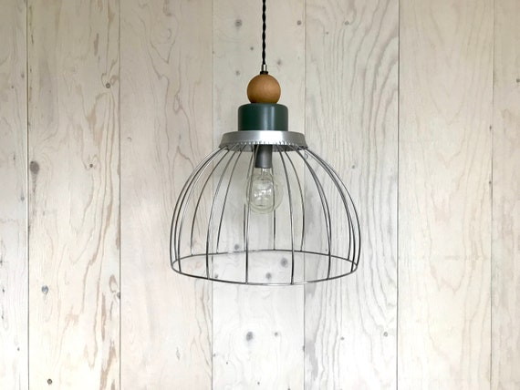 Marius - Upcycled lighting - Pendant light - Silver metal cage, olive grey metal and blond wood