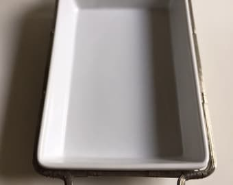 Casserole Dish w/ Silver-plated Serving Tray   Vintage