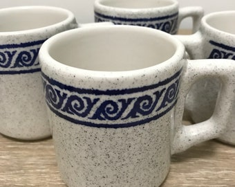 Vintage Speckled Mugs with Blue Printed Trim