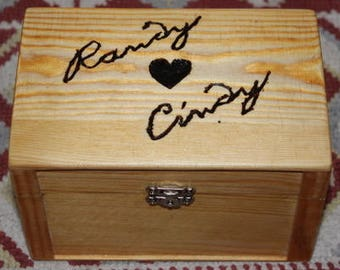 Customized Hand Crafted Wood Burned Jewelry Gift Box