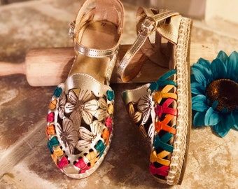 79419baa8306 PRE ORDER Gold Flowers Huarache Sandal - Mexican style Boho Hippie All sizes