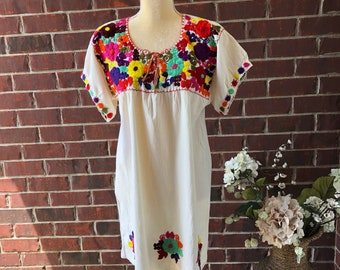 fb35b6eab87adf Mexican Handmade Embroidered Tunic| Fiesta blouse | FREE-SHIPPING