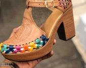 Huarache Sandal - Mexican style Boho Hippie All sizes- 5-10 High heel leather shoe 2020 Artesanias Camila New line Ready to ship Burbuja