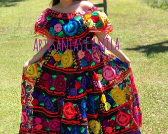 Venezuelan Dress Colombian Dress Ribbons Dress Yellow Ecuador Blue Red