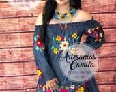Jean Denim Mexican Dress , Off Shoulders Mexican Dress, Fiesta Dress , Small- median
