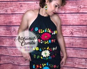 Mexican Hand Embroidery Dress- One size Small- median Fiesta Dress