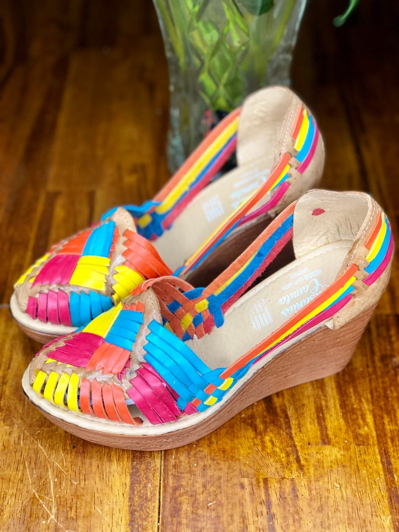 70s Shoes, Platforms, Boots, Heels | 1970s Shoes High Heel Huarache Sandal All Sizes Boho- Hippie Vintage Mexican Style- Cotton Candy Mexican Wedges $42.49 AT vintagedancer.com