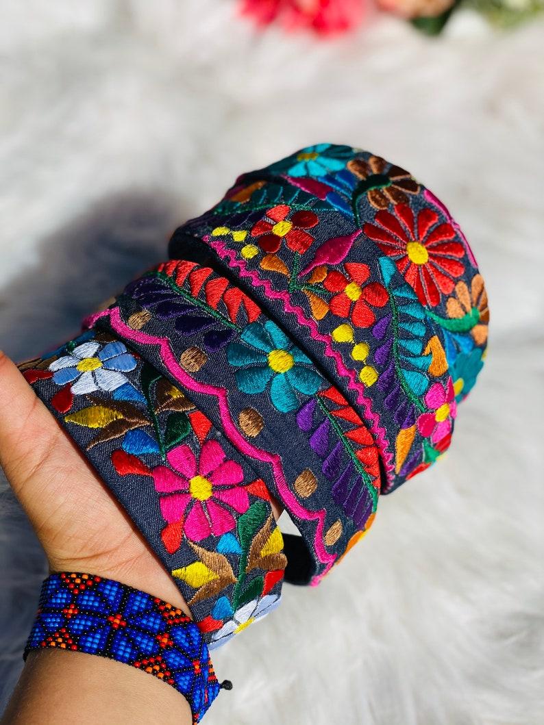 Denim Adult floral embroidery headband