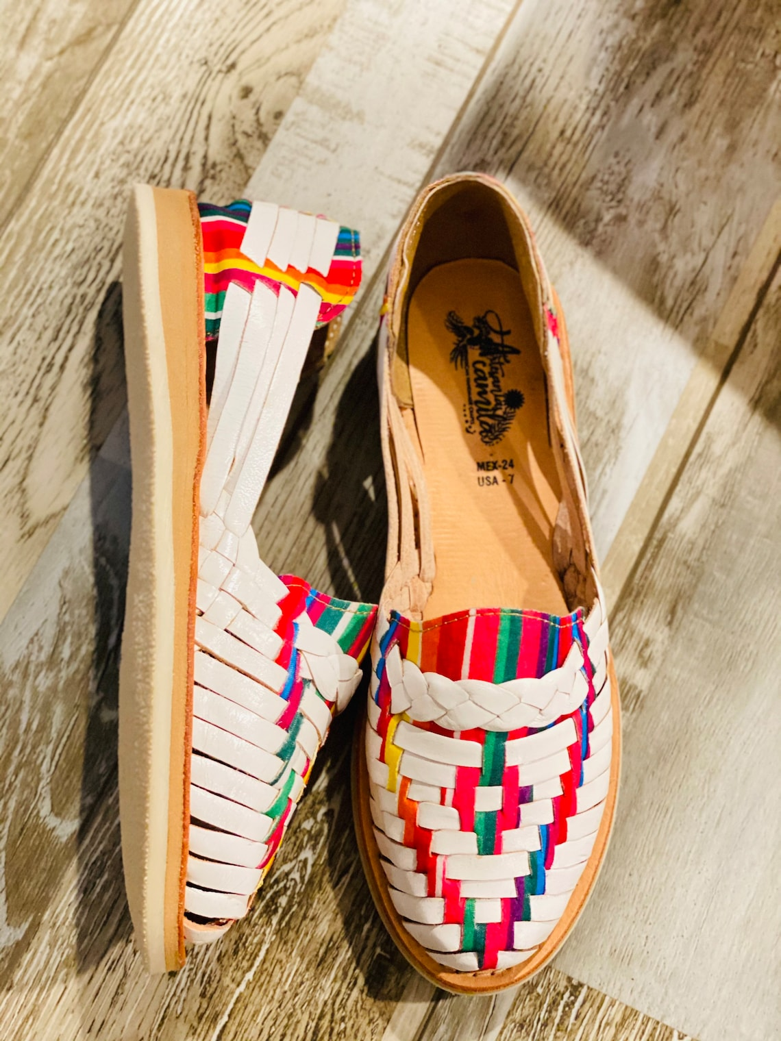 Retro Vintage Flats and Low Heel Shoes White Serape Huarache Sandal - Mexican style Boho Hippie All sizes- shoe Huarache estilo mexicano Premium genuine leather $46.75 AT vintagedancer.com