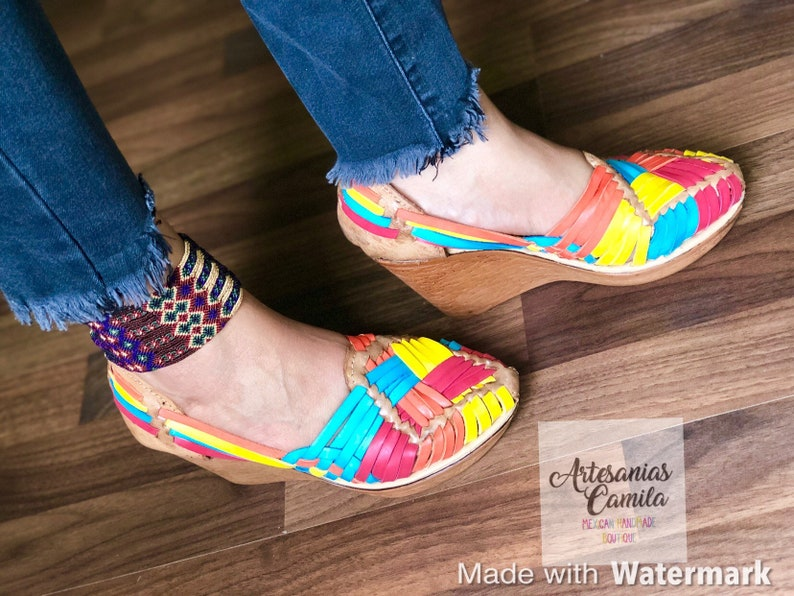 b35a9e8d18666 High Heel Huarache Sandal All Sizes Boho- Hippie Vintage Mexican Style-  Cotton Candy Mexican Wedges