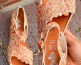 Huarache Sandal All Sizes Boho- Hippie Vintage Mexican Style- Sandal Huarache leather 2021 flowers Spring Ready to ship open toe Floral
