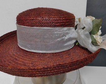 13c8ac6b The Scala collection summer hat/natural fiber/chocolate/wide white ribbon  with white peony/one size