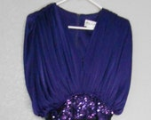 Abbey Kent Edwardian pants dress purple top black pants see through sheer empire waist sequin waist size 10